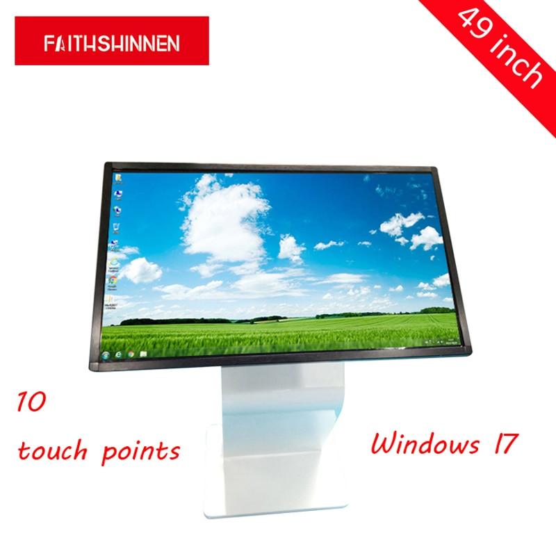 49 дюймов мульти сенсорный экран 10 точек Интерактивная плоская панель реклама направляющий киоск цвет черный/серебро окно I7
