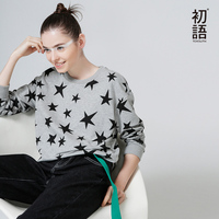 Toyouth T Shirts 2017 Spring Women Star Printed Loose Casual Long Sleeve O Neck Cotton Tees
