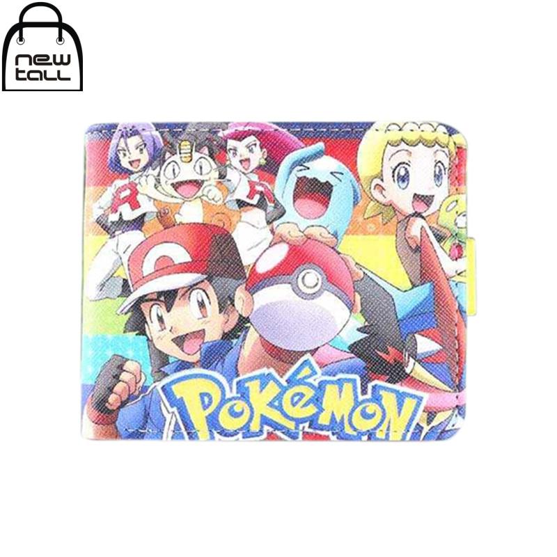 [NEWTALL]2016 New Fashion Pokemon Ash Ketchum & Team Rocket Bi-Fold Wallet Pocket Card Holder Money Purse Free Shipping 16072302