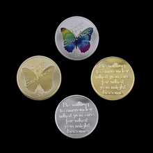 Valentines Day Commemorative Coin Gift 24k Gold Plated Butterfly Transform Love Token Metal Challenge 2 Pieces / Set
