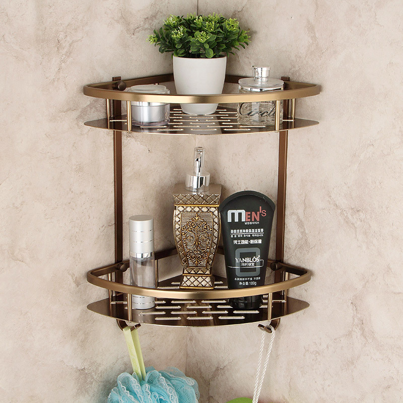Wall Mounted Antique bronze Alumimun Bathroom Soap Basket Bath Shower Shelf Triangle Basket Holder building materia цена