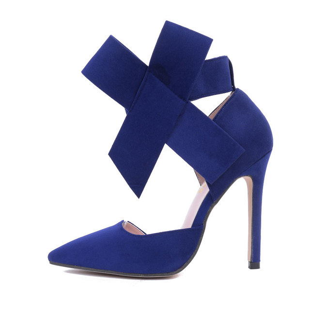Sexy big bow pointed toe high heels sandals shoes woman ladies wedding party pumps dress shoe 1