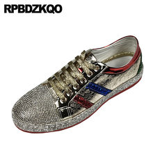 e6155edb5e5b1 Entrenadores diseñador charol zapatillas goma Rhinestone Hip Hop hombres  zapatos de lujo marca de oro Skate