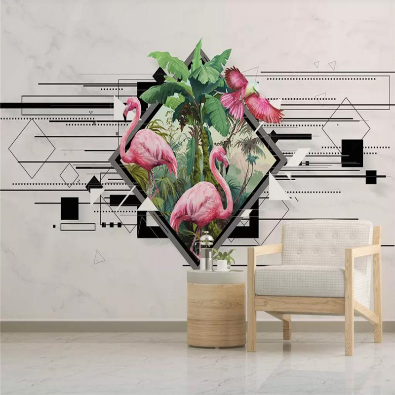 Nordic wallpaper simple personality geometric flamingo TV background wall professional manufacturing mural photo wallpaper in Wallpapers from Home Improvement