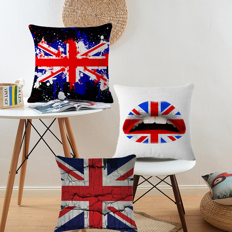 Country Flag Cushion Cover UK US Decorative Pillows Canada Car
