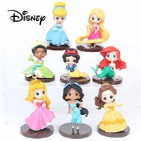 Disney 8pcs Anime Figure Mermaid Princess Cute Girl Gift Decoration Ornaments Anna Elsa Alice Cinderella Action & Toy Figures