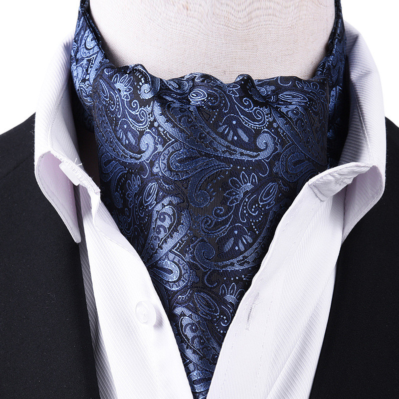Korean suit silk scarf men neckerchief British retro shirt Printed scarf spring ring business neutral scarves