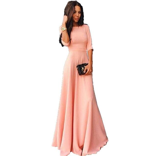 955dabe95 Nowy 2018 kobiety w stylu Vintage z długim rękawem długa sukienka panie  wieczór Party długa sukienka