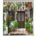 Spanish Garden House Shower Curtain Polyester Fabric Flowers Vines Floral Green -NH