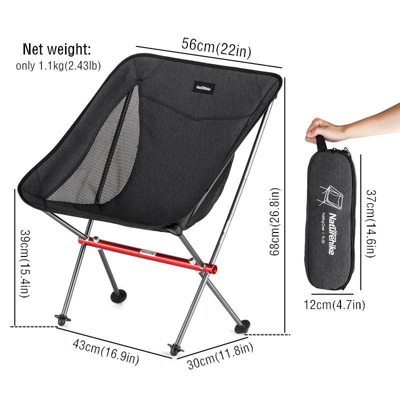 Naturehike Ultralight Portable Folding Chair Camping Hiking Fishing Foldable Comfortable Moon Chair With Backrest