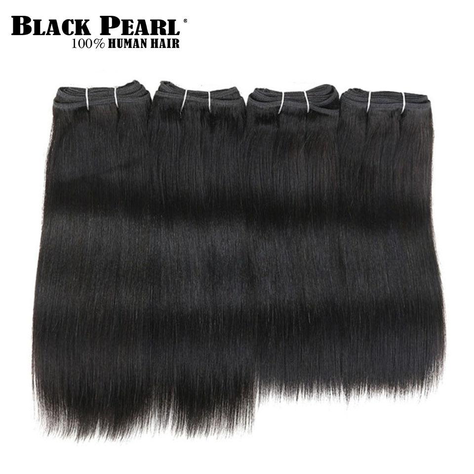 Extensiones de pelo ondulado brasileño baratas Perla Negra, 4 mechones Yaki, extensiones de cabello humano liso, 4 unidades/lote, 190g