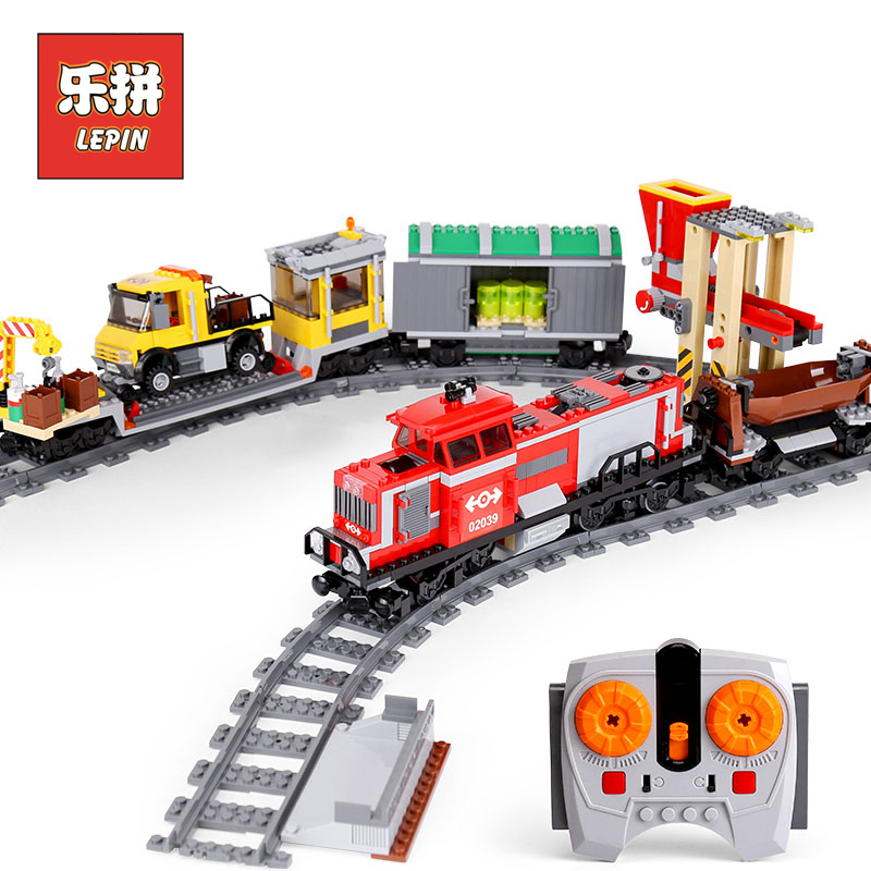 Lepin City 02039 The Red Cargo Train Set 3677 RC legoinglys Train self-locking bricks Building Blocks Educational kids Toys Gift