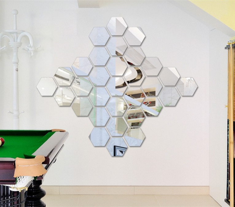 Diy Silver Wall Decorative Stickers Mirror Geometric Hexagon Sticker Home Decor Poster For Living Room Bedroom