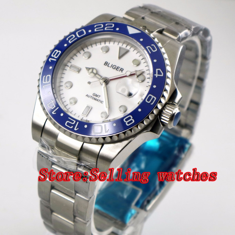 40mm Bliger White Dial blue ceramic bezel red GMT Luminous Hands Sapphire Glass Automatic Movement Mens Mechanical watches40mm Bliger White Dial blue ceramic bezel red GMT Luminous Hands Sapphire Glass Automatic Movement Mens Mechanical watches