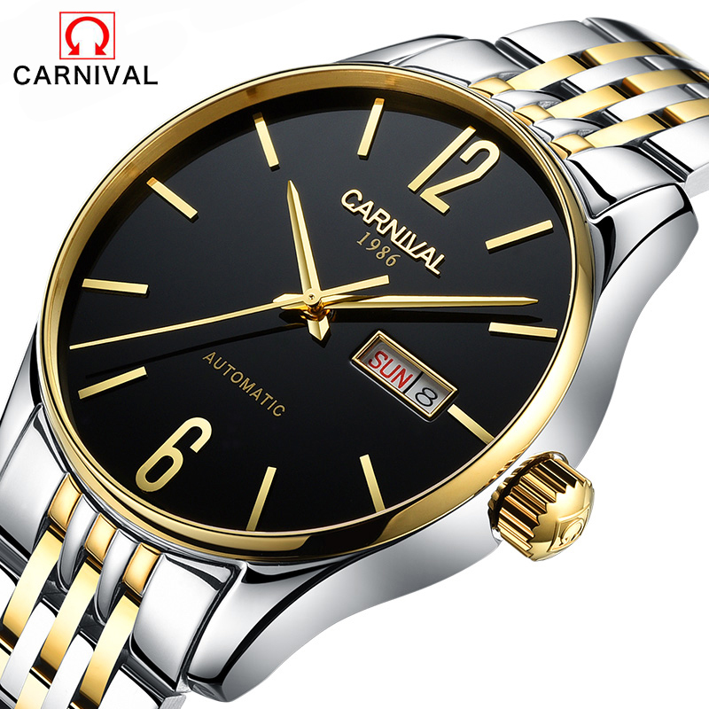 CARNIVAL Top Brand Reloj Hombre Simple Fashion Casual Watches Men Date Waterproof Automatic Machinery Mens Watch 2017 New wu s 2018 new leather belt watch men s casual waterproof simple watch machinery factory wholesale