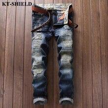 Рваные джинсы для мужчин Известный бренд Байкер Проблемных Джинсы Мужчин мода Slim fit Джинсовые Брюки 100% Хлопок Повседневная Мужчины гарем брюки