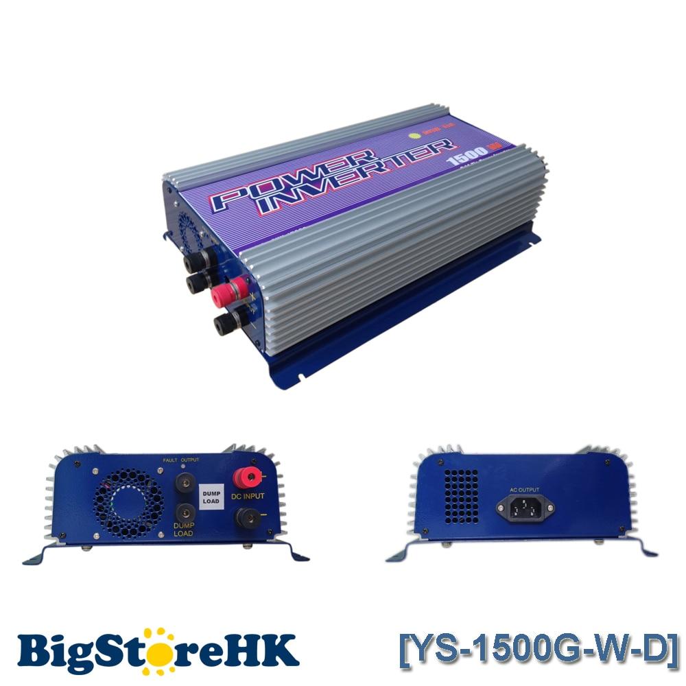 1500W Grid Tie Power Inverter for 3 Phase DC To AC 45V 90V Input Wind Turbine MPPT Pure Sine Wave Inverter Build In Rectifier