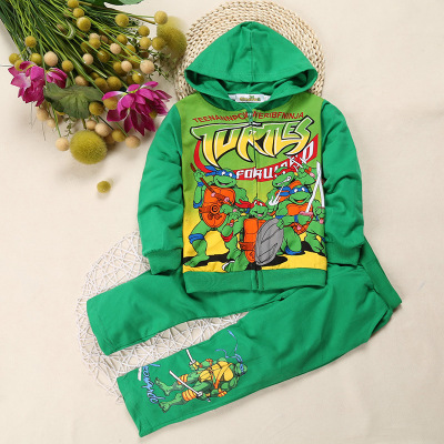 2019 New style  Boys Girls Clothes Sets Ninja Turtle Print Hooded Suit children Jacket Costume set For Kids sports suits  2T-9T2019 New style  Boys Girls Clothes Sets Ninja Turtle Print Hooded Suit children Jacket Costume set For Kids sports suits  2T-9T