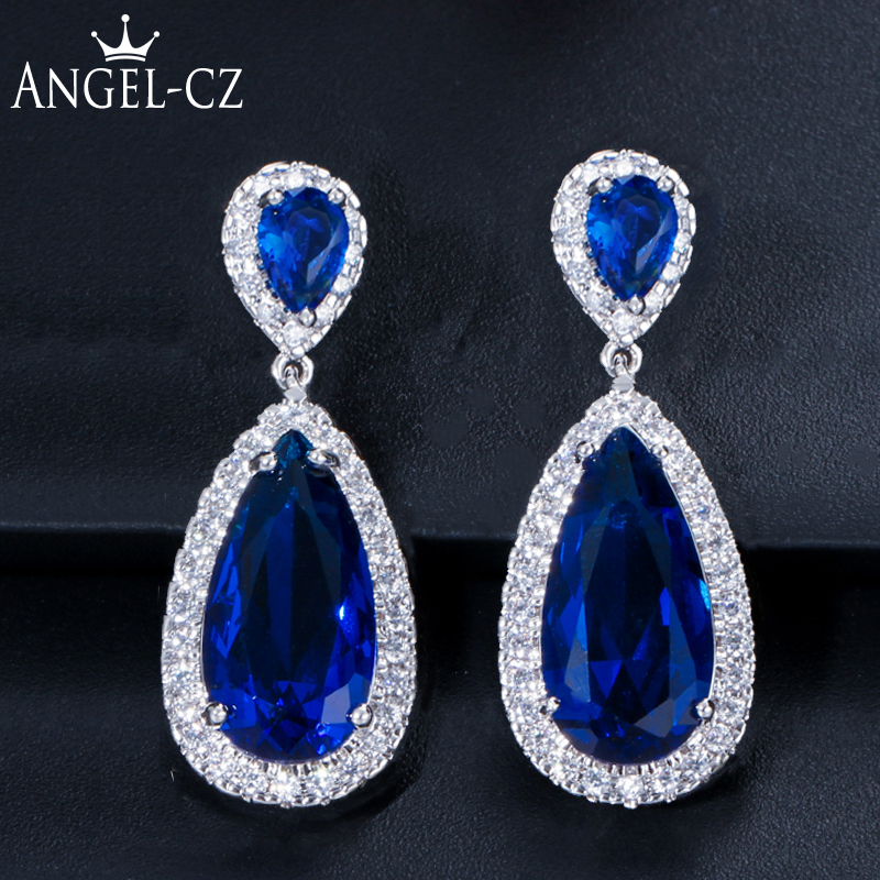 ANEGLCZ Luxury Royal Blue Stone Earring Water Drop Cubic Zirconia Bridal Long Earrings For Women Wedding Party Jewelry AE011