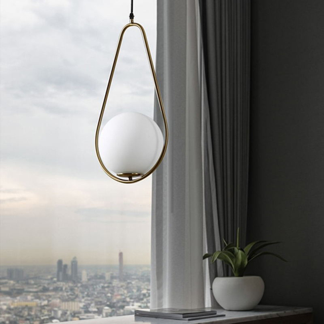 Nordic Glass Ball Pendant Lights Vintage Hoop Gold Modern LED Hanging Lamp for Living Room Home Loft Industrial Decor Luminaire 5
