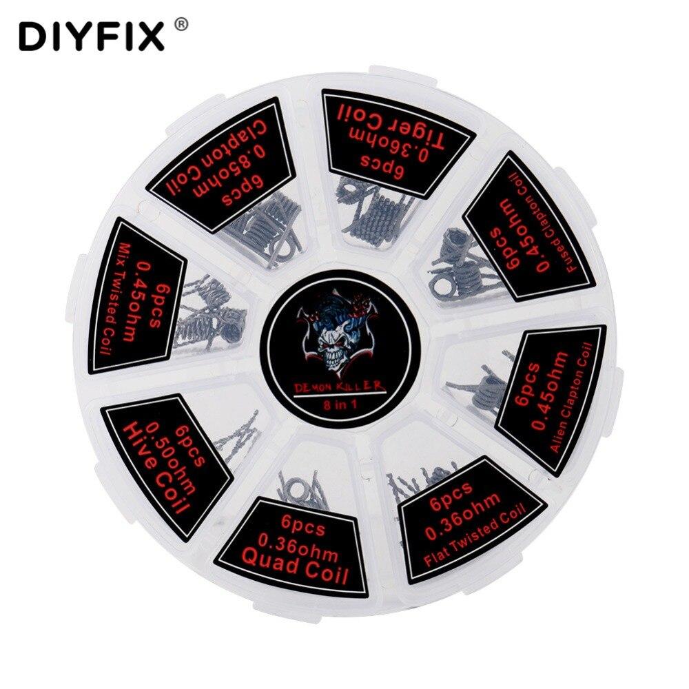 Diyfix 8 In 1 Prebuilt Coils Premade Coil Heating Wire For Electronic Cigarette Rda Rta Rba Rdta Atomizer Diy Tool