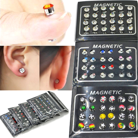 BOG- 24 pieces Magnetic Non-Piercing Clip Round Rhinestone Stud Earring Cheater Fake Ear Plugs For Boy Body Jewelry Pakistan