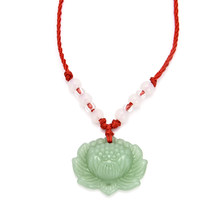 Fashion Women Men Natural Green Lotus Pendant Red Rope Chain Necklace Lucky Charm Necklaces Jewelry Wholesale(China)