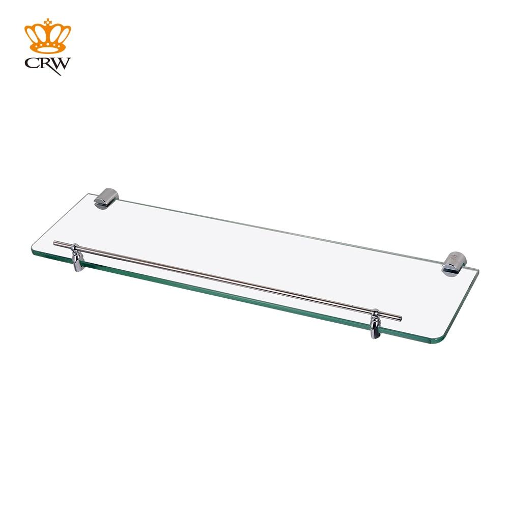Crw Bathroom Single Tier Glass Shelf Shower Caddy With Brass Chrome Holder Storage Rack Bathroom