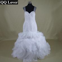 QQ Lover 2017 Luxury Beaded Ruffles Mermaid Wedding Dresses Sheer Back Bridal Gown Vestido De Novia