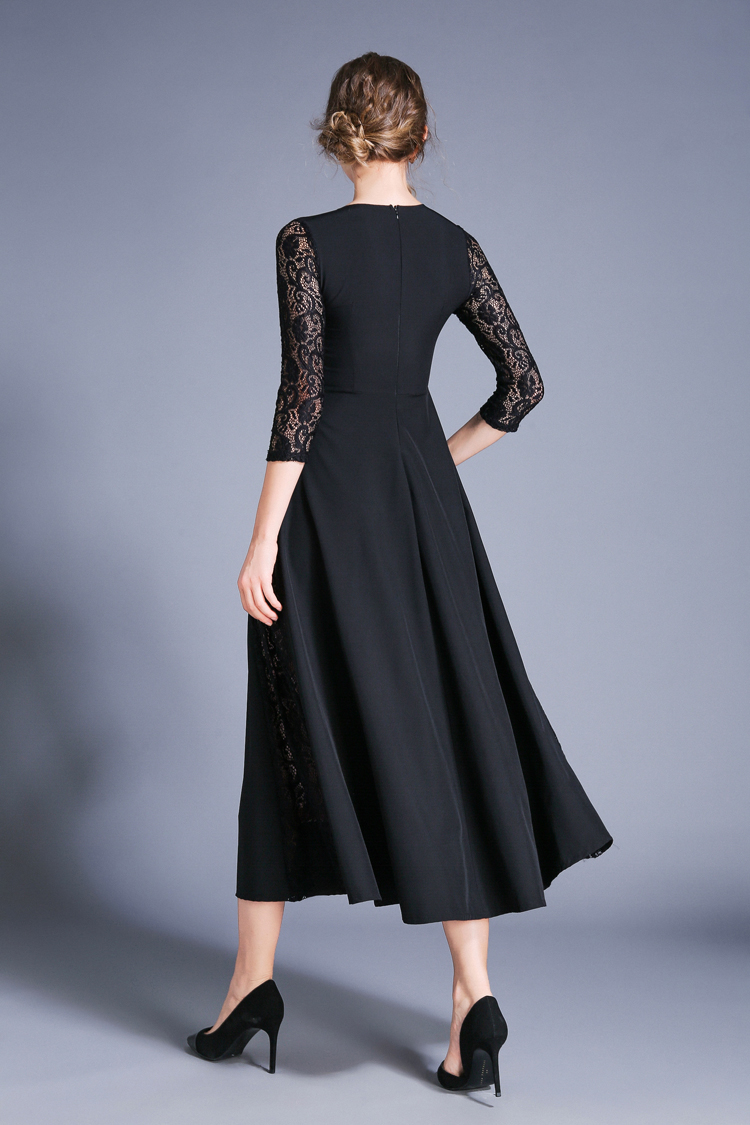 Retro Swing Hollow Out Lace A-Line Black Dress 8