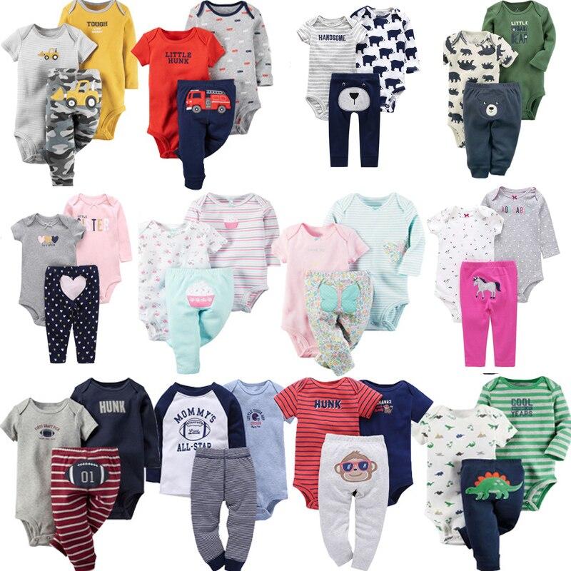 3PCS Newborn Infant Toddler Baby Boy Girl Clothes Set Cartoon Floral Stripe Long sleeve bodysuit+Short Sleeve jumpsuits+Pants