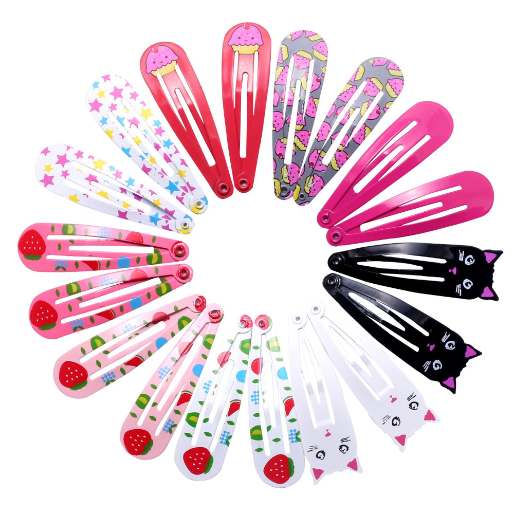 18pcs 5cm Hairpins Snap Hair Clips for Children Girls Hair Accessories Baby Cute Hair Clip Pins Cat Color Metal Printed Barrette
