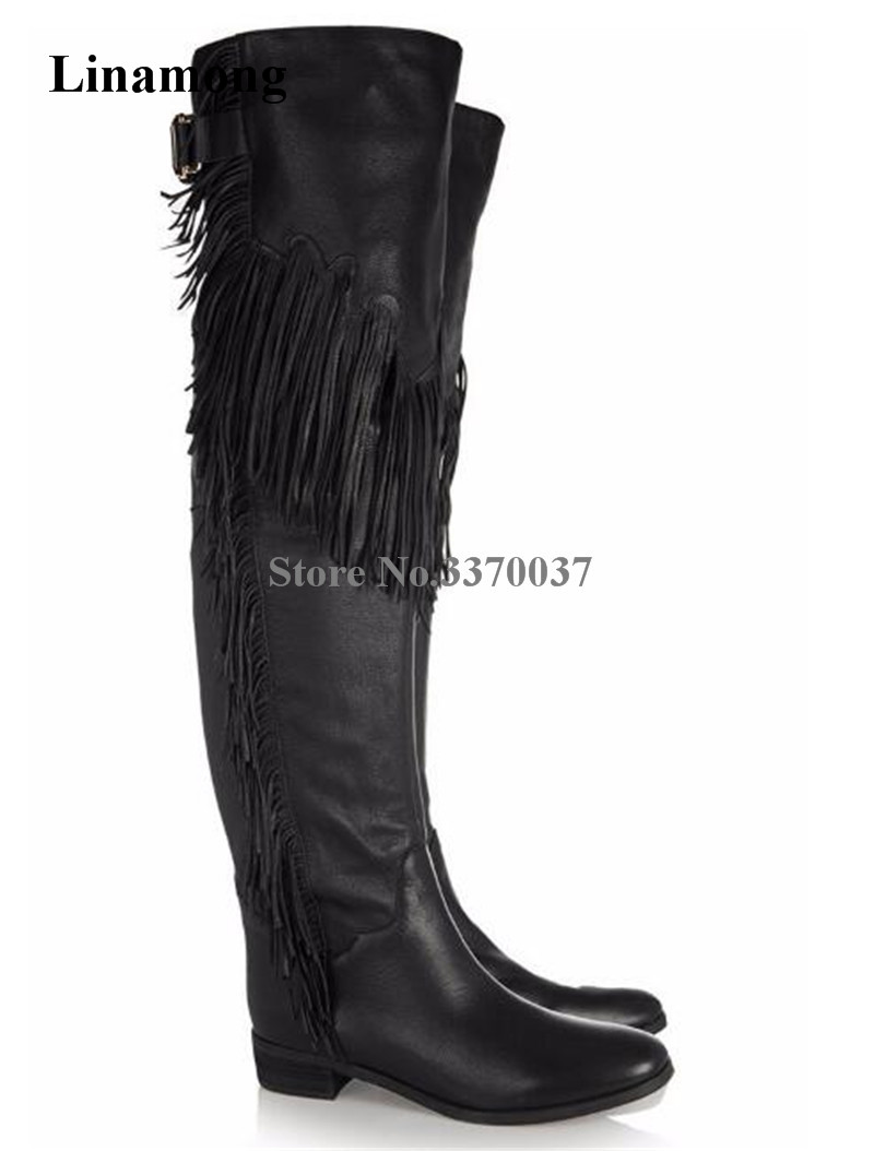 Brand Design Women Winter Fashion Round Toe Tassels Over Knee Flat Boots Fringes Long Knight Boots Riding Boots trendy women s flat shoes with round toe and tassels design