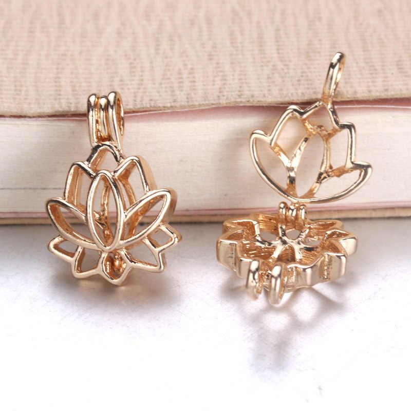 6pcs Bright Silver ชีวิตที่สวยงาม Lotus ไข่มุกกรงเครื่องประดับลูกปัดจี้น้ำมันหอมระเหย Diffuser Locket สำหรับ Oyster Pearl