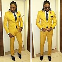 2018 New Formal Business Groom Tuxedo Yellow Cotton Blended Wedding Suits for Men Slim Fit 3 Pieces Suits (Jacket+Vest+Pants)