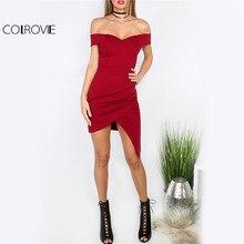 Colrovie Красный Bodycon Ruched Вечерние Платье 2017 Для женщин Милая с плеча Сексуальная Летнее платье Асимметричный элегантный Обёрточная бумага платье