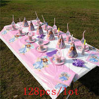 128Pcs/Lot Disney Princess Sofia Theme Design Pink Cups+Plates Birthday Party Decoration Cute Tableware For Family Party Supply