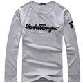 Новый горячий мужчины весна футболка полный рукав дышащая одежда письмо печать уютный о-образным вырезом мода тонкий высокое качество одежды топ