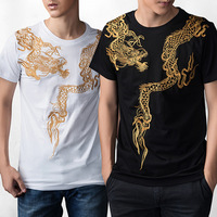 Tonen mannen tattoo tattoo inkt dragon overheersend ronde kraag katoen shirts grote werven jeugd kung fu korte mouwen T