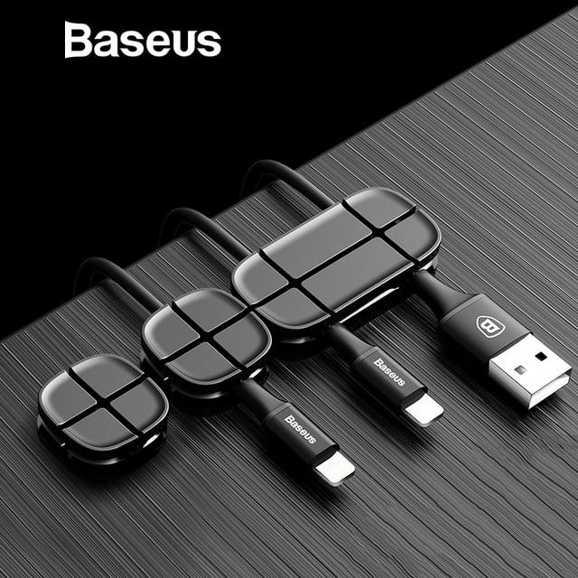 Baseus мобильного телефона кабельный зажим для автомобиля Desktop Tidy Органайзер для кабеля зарядного устройства кабель передачи данных цифровой провода зарядный кабель намотки