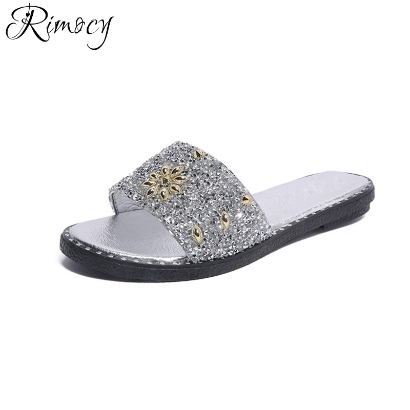 ed4c61003976c Rimocy glitter flower women summer slilppers fashion gold silver woman flat  heel slip on sandals casual slides flip flops mujer-in Women s Sandals from  ...