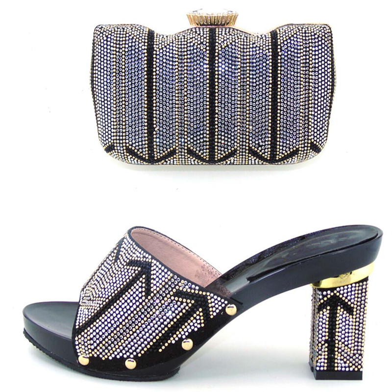 ФОТО New arrival BLACK  color Italian shoes and bag set to match for wedding  !DL1-20