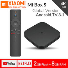 Global xiao mi mi caixa de tv s 4 k hdr receptor de tv 8.1 ultra hd 2g android 8g wifi google elenco netflix iptv conjunto caixa superior 4 media player(China)