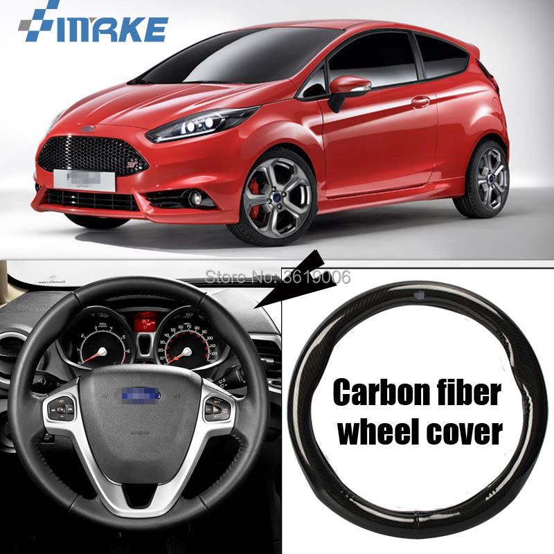 smRKE Car Accessories For Ford Fiesta Black Carbon Fiber Leather Steering Wheel Cover Sport Racing Car Styling airspeed carbon fiber steering wheel emblem for ford mustang car stickers car styling 2015 2016 2017 auto accessories