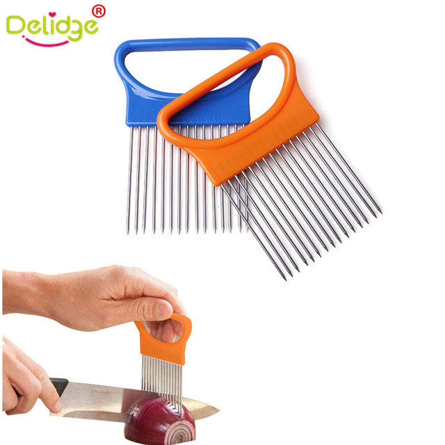 Delidge 1 pc Easy Cut Onion Holder Fork  Stainless Steel +Plastic Vegetable Slicer Tomato Cutter Metal Meat Needle Meat Frok