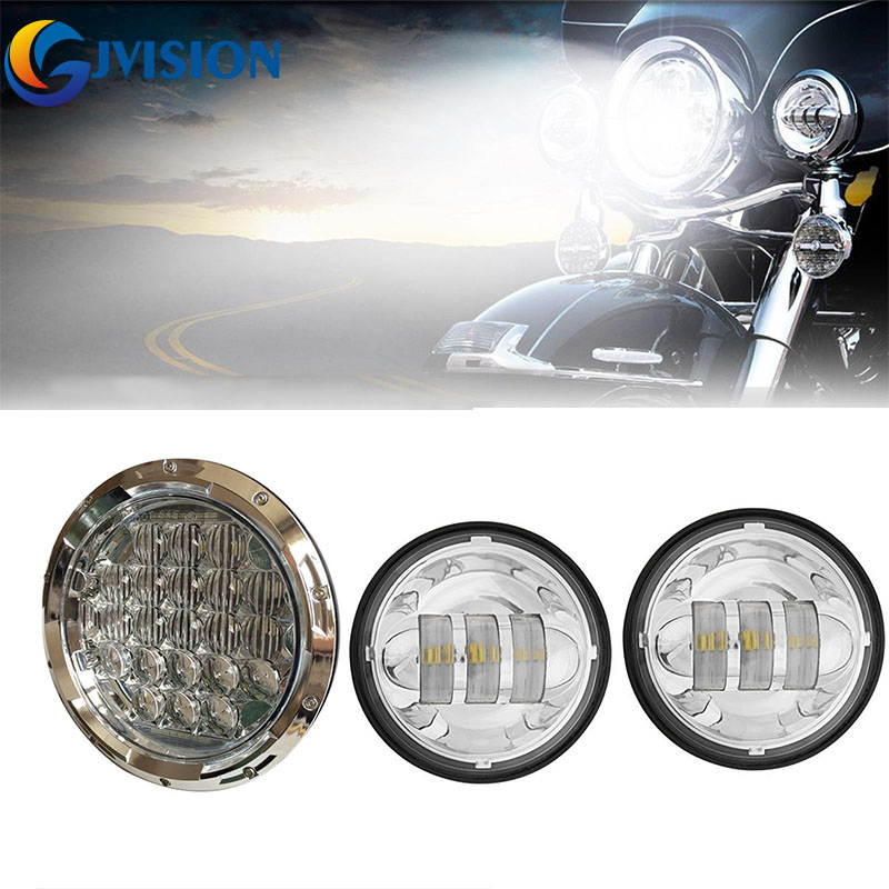 Chrome 7 inch harley Daymaker led headlight 75W 5D LED Chip + 4.5'' inch Motorcycle fog light Passing Lamps for Harley Davidson