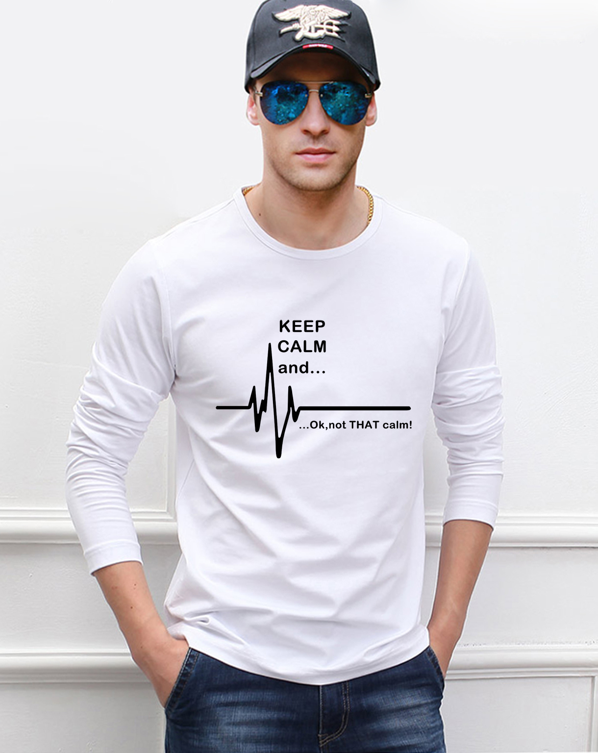 2019 spring new 100% cotton men's long sleeve   t  -  shirts   funny men   t     shirt   Keep Calm and...Not That Calm EKG Heart Rate top tees