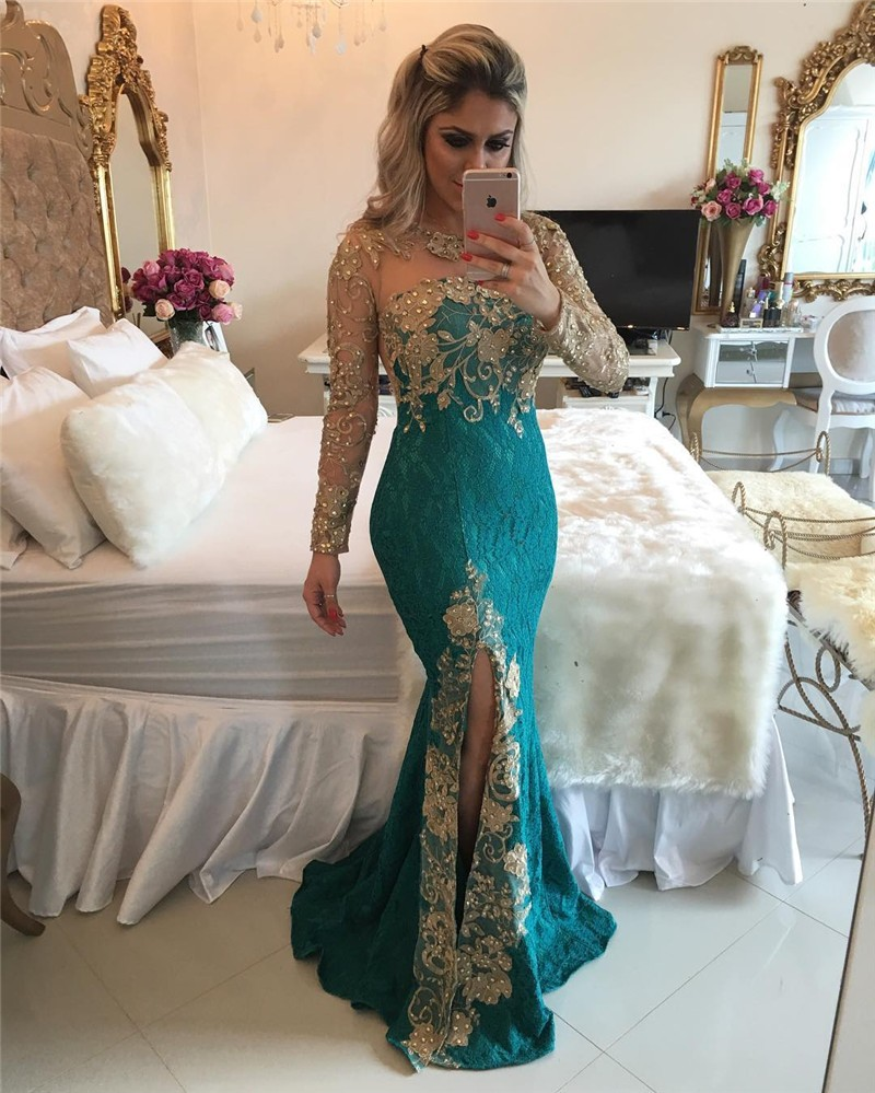 98721c6b18 US $166.0 |Alexzendra Lace Mermaid Formal Evening Dress with Long Sleeves  Bead Green Long Sexy Illusion Back Party Gowns-in Evening Dresses from ...
