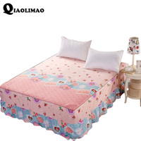 100% Cotton Bed Skirt 1 Piece Bed Skirt King Queen Twin Size Printed Bed Sheet Bedding Lace Bed Skirt Mattress Cover Bedspread