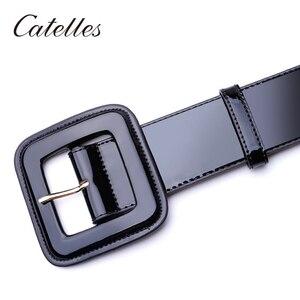 Image 5 - Catelles szeroki pasek damski czerwony damski pasek ze skóry naturalnej dla kobiet designerska marka wysokiej jakości paski damskie do sukienek